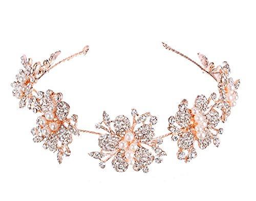 Shelley - Diadema para novia con lazos de oro rosa