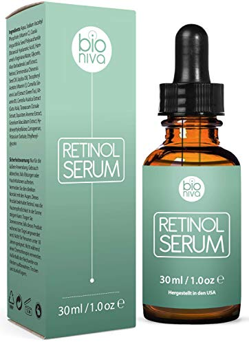 Bionura Retinol Serum mit 2,5% Retinol, 20% Vitamin C & 10% Hyaluronsäure – Die beste Natürliche Anti Aging & Anti Falten Retinol Behandlung für Sensible Hautohne die irritierenden Nebenwirkungen. 30 ml - 3