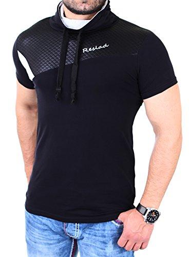 Reslad Shirt Herren Kunst- Leder Applikationen Schalkragen Shirt RS-05 Schwarz