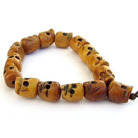 Ovalbuy Ox Bone Carved Skull Beads Tibet Buddhist Prayer Bracelet Mala