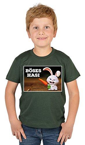 Kinder T-Shirt mit Lustigem Oster Motiv - Osterhasen Kinder-Shirt : Böses Hasi - Witziges Tshirt Fürs Osternest Jungen/Mädchen Gr: XL= 158-164