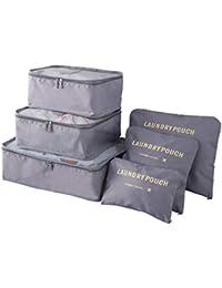 Lot de 7 sacs à vêtements avec sac à linge, sac à chaussures, cosmétiques, sac de rangement de couleur au choix, gris