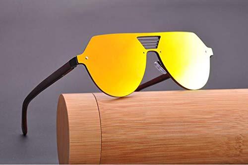 MOOMDDY Bambus-Holzgläser Personalisierte Metallfeder Scharnier Polarisierte Sonnenbrillen,Gold