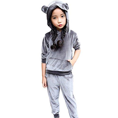 SHOBDW Girls Clothing Sets, Kids Girls Long Sleeve Hooded Warm Winter Hoodie Sweatshirt Tops + Pants Children Suit