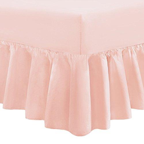 Tour de lit uni chiné 100 % percale de coton , rose poudré, Simple