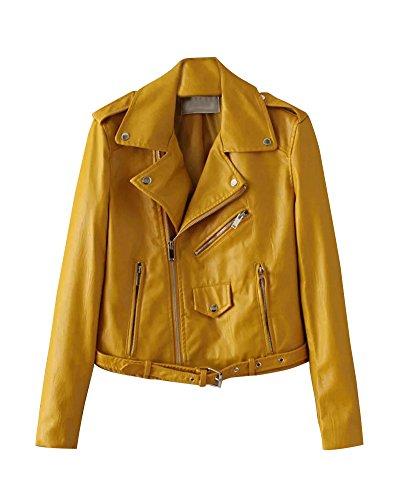 Damen Kunstleder Jacke Motorradjacke Ladies Oberbekleidung Lederjacke Outwear Gelb L