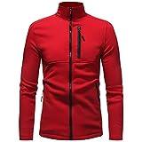 KPILP Herren Herbst Winter Solid Langarm Reißverschluss Kapuzenpullover Mantel Top Sweatshirt Sportkleidung(Rot, L)