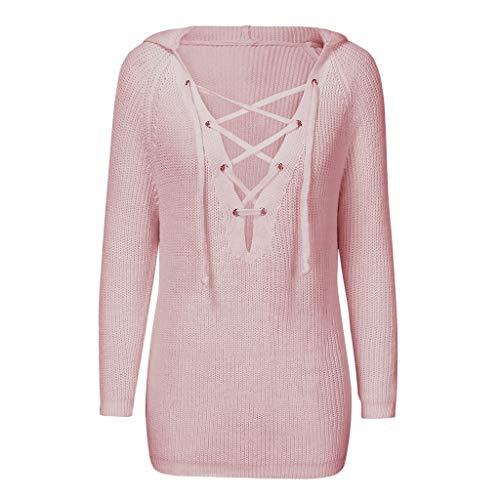 BOLANQ SchnüRen Pullover V-Ausschnitt Einfarbiger Pullover Damenmode Herbst/Winter Langarm Kapuzenpullover Strickpullover Tops(XXX-Large,Rosa)
