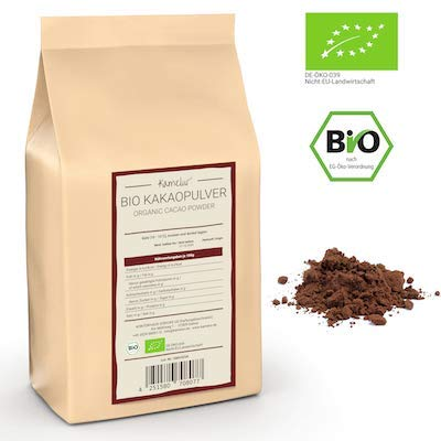 1kg BIO Kakao Pulver aus besten Kakaobohnen - Rohkost - 100% reiner Kakao, BIO Kakaopulver stark entölt (11% Fett) - verpackt in biologisch abbaubarer Verpackung