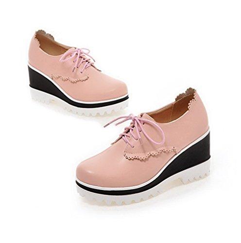 Rund Pink Hoher Schuhe Zehe Schnüren Damen Pumps Absatz Rein Material Weiches Allhqfashion 45qaScF6F