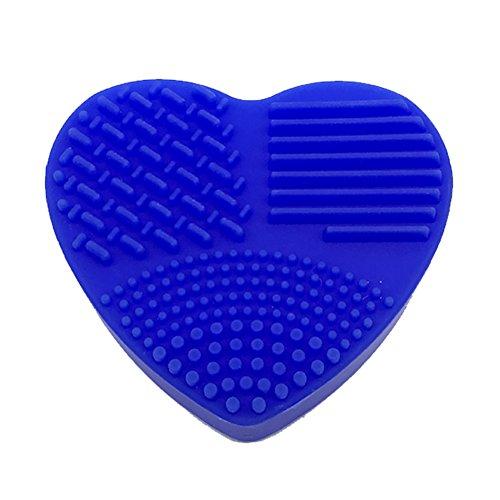 JUNGEN Nettoyage Gant de Maquillage Amour en Forme De Coeur Silicone Maquillage Brosse De Nettoyage Tapis Cosmétique Brosse Laver Pad Maquillage Lavage Brosse Récureur Outil De Nettoyage (Bleu foncé)