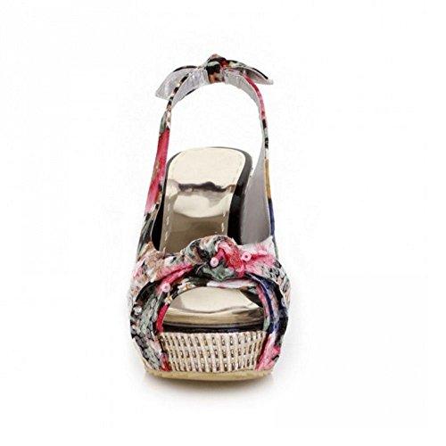 COOLCEPT Femmes Mode Slip On Court Chaussures Compenses Heel Slingback Escarpins Peep Toe Chaussures Noir
