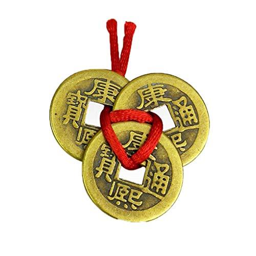 Mengonee 3PCS Buena Suerte Chino Monedas Riqueza Fortuna éxito de Cobre Monedas Chinas Regalos de cumpleaños de la aleación
