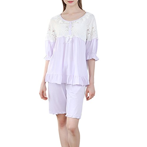 Zhhlaixing Summer Womens Comfortable Cotton Pajama Set Girls Cute Lace Sleepwear Nightgown Purple
