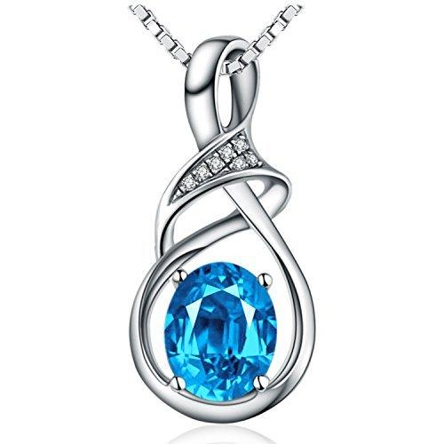 Sterling Silber und natürliche Schweizer Blue Topas Edelstein Anhänger Halskette Valentinstag Geschenke für Frauen