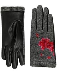 Desigual Gloves_red Flowers, Guantes para Mujer, Negro (Negro 2000), Talla Única (Talla del Fabricante: U)