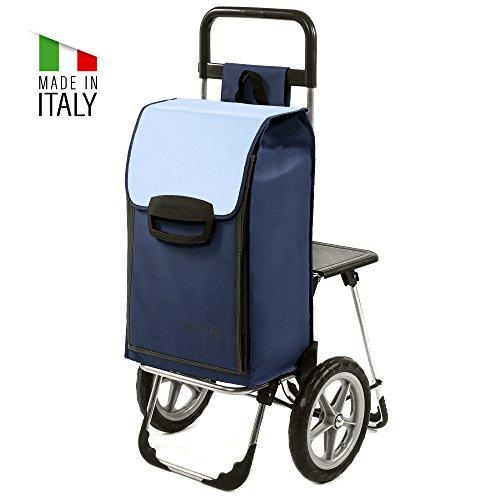 Einkaufstrolley Fajena mit Klappsitz & Kühlfach in blau mit 65L - Einkaufsroller Trolley bis 50kg belastbar mit großen flüster Rädern
