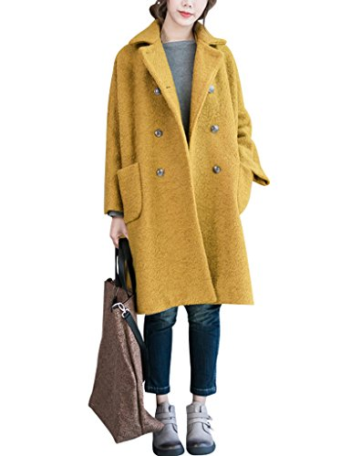 Youlee donna inverno risvolto doppiopetto cappotto lana cappotto giallo l-xl