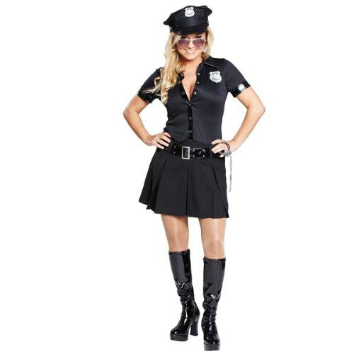 Damen-Kostüm Sexy Polizistin schwarz, Gr. (Schwarzen Die Gauner Kostüme)