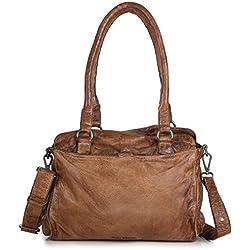 Fredsbruder Taschen Damen Handtasche Rise cognac braun Leder Schultertasche für Damen Umhängetasche Shopper Tasche groß braune Ledertasche