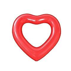 Idea Regalo - DOMIRE A Forma di Cuore Piscina Gonfiabile Galleggiante di Nuotata Anello Materassino Ride-On Nuoto Lounger Piscina Estiva Giocattoli Nuoto Accessori (Red)