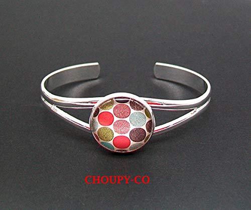 Pulsera, rígida, rush, cabujón * gráfico, geométrico * lunares, redonda, multicolor, plateada, pulsera de colores, ajustable, idea de regalo.