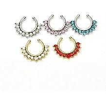 richbest aleación aro para la nariz anillos de nariz piercing Jewelry falso Septo Clicker Piercing no Colgador Clip en pendientes