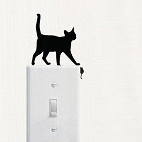 FTXJ DIY Sticker Mural, Vivid Amovible Cat Stickers muraux Interrupteur Decor Stickers Art Mural Bébé Salle de Chambre d'enfant 17 * 7cm 14.5cm*11cm D
