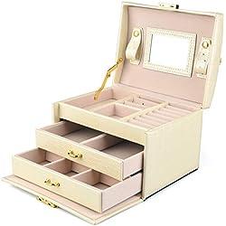 DCCN Boîte à Bijoux en Cuir PU 3 Plateaux Coffret à Bijou Femme Fille Elegant