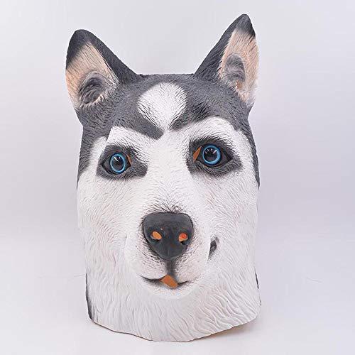 Tragen Husky Kostüm - GJX Siberian Husky Mask, Halloween Maske Tierkopfbedeckung Latex Maske Fun Halloween Party Kostüm Für Kinder Und Erwachsene
