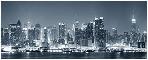Wallario Acrylglasbild XXL New York Skyline - Schwarz Weiß Blau - 80 x 200 cm in Premium-Qualität: Brillante Farben, freischwebende Optik