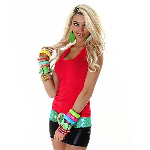 Damen Top Shirt Tanktop T-Shirt Sport Party Elegant Schwarz Sexy Lässig Träger Rot