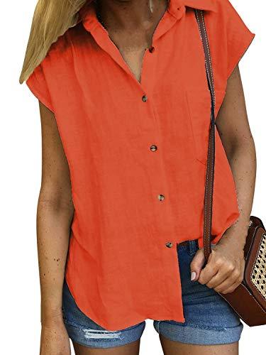 4219109d832073 Damen Bluse Sommer Shirt Kurzarm Hemd Tops Oberteile Frauen Hemdbluse  Elegant T-Shirt Baumwolle Lässige