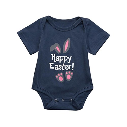 SHOBDW Girls Rompers, Baby Boys Fashion Easter Gifts Letter Cartoon Rabbit Print Party Short Sleeve Summer Jumpsuit Infant Outfit Pajamas
