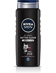 NIVEA MEN Gel Douche Active Clean Edition Limitée Paris Saint-germain 500 ml- Lot de 3