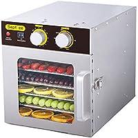 Deshidratador de frutas, 304 Cuerpo de acero inoxidable Secador de temperatura ajustable de 30 a 90 ° C para secar frutas y verduras Lámpara UV Poste de 6 capas Rejilla Secadora de frutas para el hoga