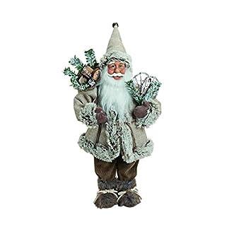 MaRab Figura Decorativa navideña Muñeco de Papá Noel de Tela navideña, plástico y Madera en Beige, Aprox. 45cm Ideal como Regalo y decoración para Navidad