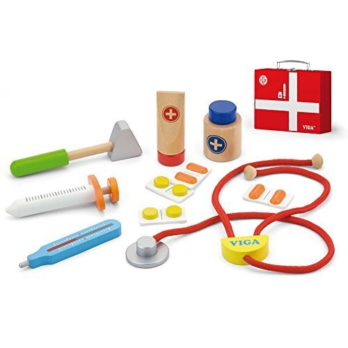 Viga Wooden Medical Kit - Childrens Doctors & Nurses Playset