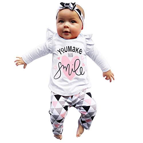 Cooljun Baby Kleidung Set 4Pcs Neugeborene Jungen Mädchen Sommer Kurzarm Strampler Overall Tops+Hosen+Hut+Stirnbänder Romper Outfits Spielanzug Set (12-18 Monat, Weiß)