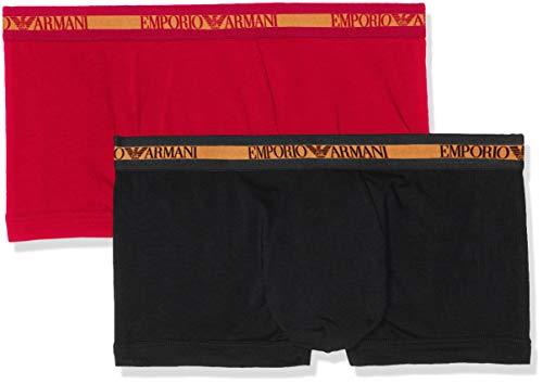 Emporio Armani Underwear Herren 111210 Shorts, Mehrfarbig (Nero/Rubino 02520), Medium