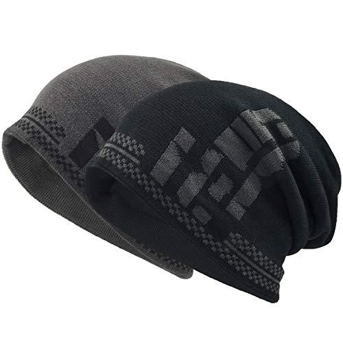 VECRY Herren Baumwolle Mütze Strickmützen Slouch Beanie Schädel Cap Winter Sommer Hüte (2 Pack) -
