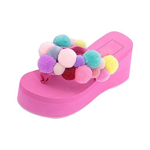 Eastlion Damenmode High Heel Sommer Pantoffeln Flip Flops Strings Strand Hausschuhe Sandalen Schuhe Rose Rot