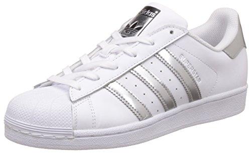 adidas Damen Superstar Sneaker, Mehrfarbig (Ftwwht/Silvmt/Cblack), 39 1/3 EU