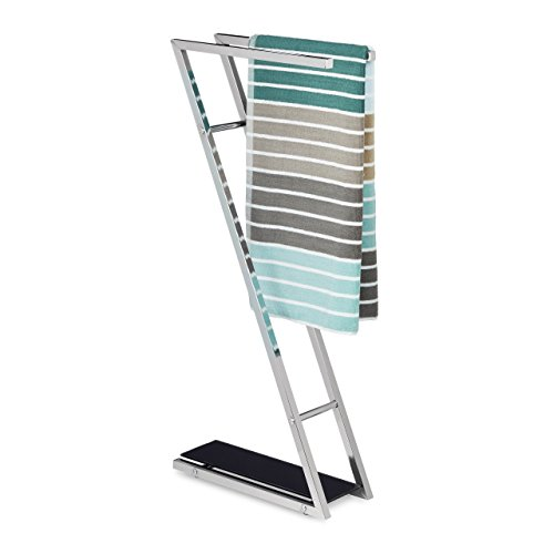 Relaxdays Toallero de Pie Glass con 2 Barras, Acero Inoxidable, Plateado-Negro, 78 X 13,5 X 35,5 cm