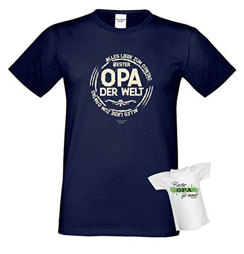 Bester Opa der Welt Papa Großvater Geschenke Set Vatertag Sprüche Fun T-Shirt & Minishirt Farbe: navyblau Navyblau