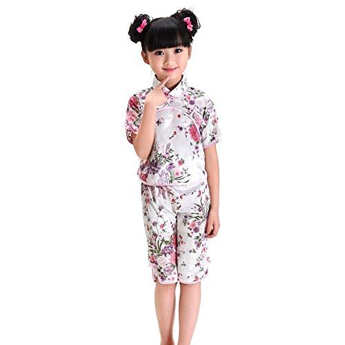 XFentech Mädchen Chinesische Tang Anzug - 2 Stück Kinder Traditioneller Tanz Tang Anzug Kostüm Top & Hose Set Performance Kleidung, Weiß, Tag 12(135cm Höhe empfohlen (Weiß Zwei Stück Tanz Kostüm)