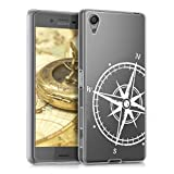 kwmobile Funda para Sony Xperia X - Carcasa de [TPU] para móvil y diseño de Aguja magnética en [Blanco/Transparente]