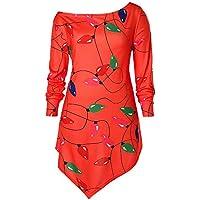 LILICAT☃ Collar Oblicuo de Las Mujeres Linterna navideña Manga Larga Cuello Sesgado Color Luces Camiseta Blusa Informal Tops (Rojo, Amarillo, S/M / L/XL)