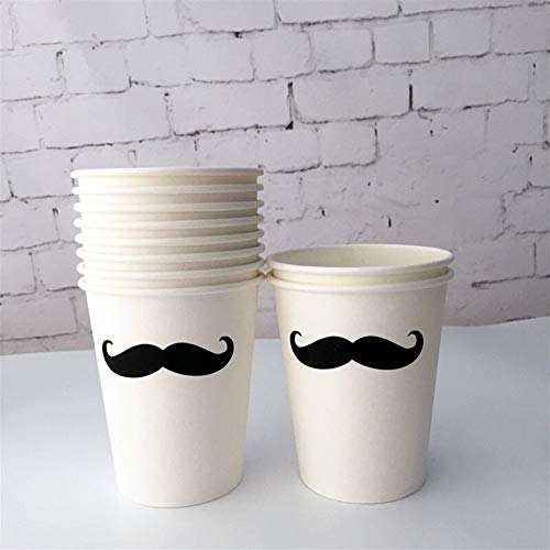 YUELANG 8pcs Black & White Stripe Party Plat Pappteller Mit Silber Scallop Edge Black Moustache Cup Serviette Für Little Man Boy Birthday (Color : Mustache Cup 8pcs) Edge-servietten