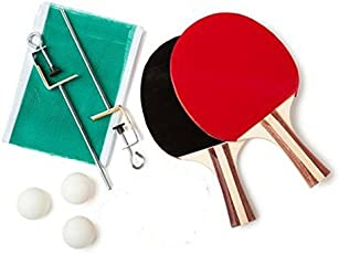 ADITYA INFO™ ONE PAIR OF TABLE TENNIS RACKETS+ 3 BALLS + 1 Net with Fixing stand